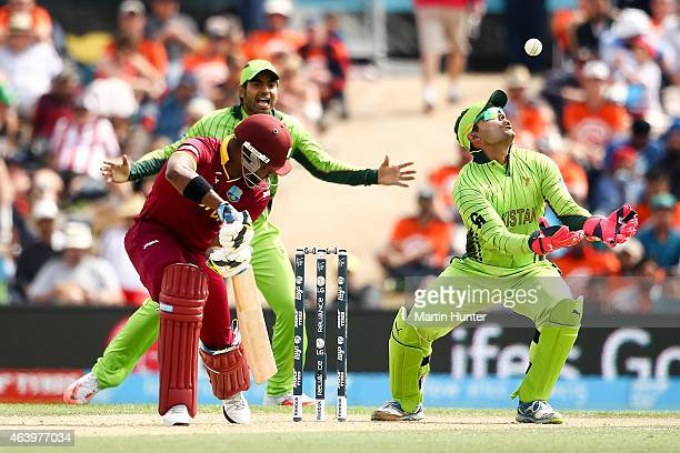Umar Akmal of Pakistan appeals for the wicket of Darren Bravo of West Indies during the 2015 ICC Cricket World Cup match between Pakistan and the...