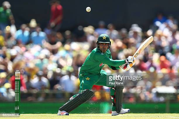 Umar Akmal of Pakistan bats during game three of the One Day International series between Australia and Pakistan at WACA on January 19 2017 in Perth...