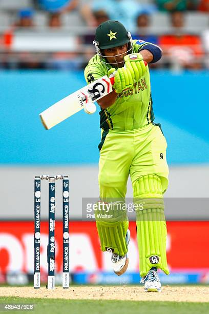 Umar Akmal of Pakistan bats during the 2015 ICC Cricket World Cup match between South Africa and Pakistan at Eden Park on March 7 2015 in Auckland...
