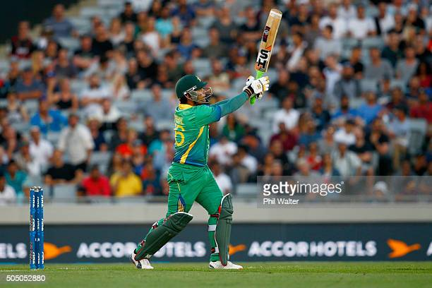 Umar Akmal of Pakistan bats during the first T20 match at Eden Park on January 15 2016 in Auckland New Zealand