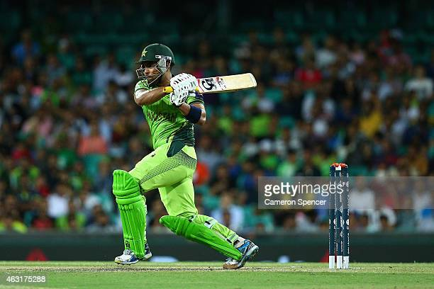 Umar Akmal of Pakistan bats during the ICC Cricket World Cup warm up match between England and Pakistan at Sydney Cricket Ground on February 11 2015...
