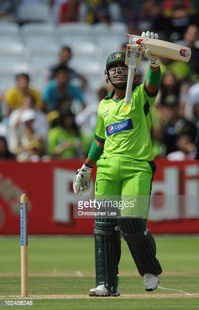 Umar Akmal of Pakistan breaks his bat after playing a shot during the International Friendly match between MCC and Pakistan at Lords on June 27 2010...