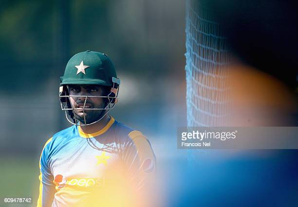 Umar Akmal of Pakistan looks during a nets session at ICC Cricket Academy on September 21 2016 in Dubai United Arab Emirates