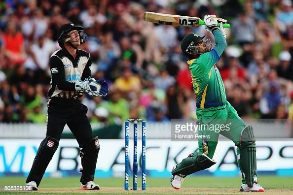 Umar Akmal of Pakistan plays the ball away for six runs during the International Twenty20 match between New Zealand and Pakistan at Seddon Park on...