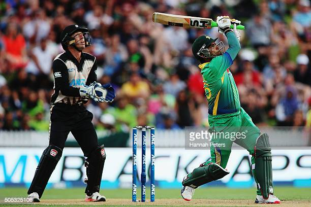 Umar Akmal of Pakistan plays the ball away for six runs during the International Twenty20 match between New Zealand and Pakistan at Seddon Park on...