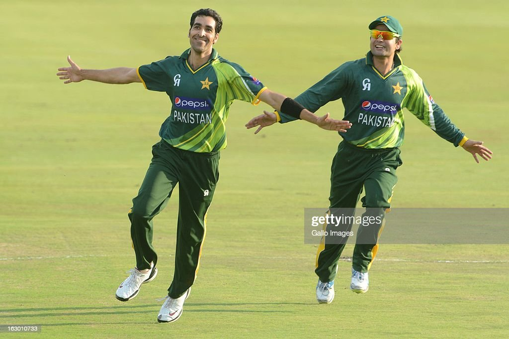 Umar Gul of Pakistan celebrate the win during the 2nd T20 match between South Africa and Pakistan at SuperSport Park on March 03, 2013 in Pretoria, South Africa.