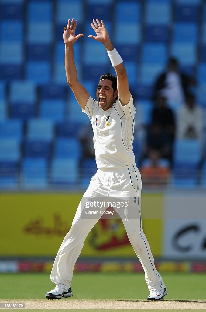Umar Gul of Pakistan celebrates dismissing Jonathan Trott of England during the 3rd Test match between Pakistan and England at The Dubai International Cricket Stadium on February 3, 2012 in Dubai, United Arab Emirates.