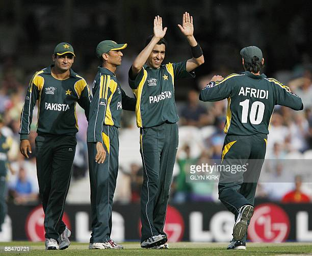 Umar Gul of Pakistan celebrates taking the wicket of New Zealand's Peter McGlashan during the Super 8 stage of the ICC Twenty20 Cricket World Cup at...
