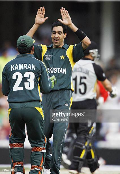 Umar Gul of Pakistan celebrates taking the wicket of New Zealand's Nathan McCullum during the Super 8 stage of the ICC Twenty20 Cricket World Cup at...