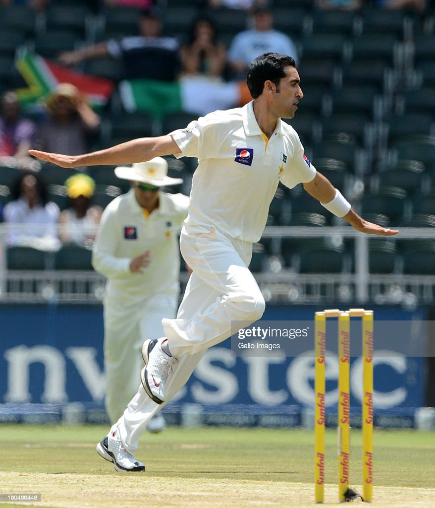 Umar Gul of Pakistan celebrates the wicket of Graeme Smith of South Africa during day 1 of the first Test match between South Africa and Pakistan at Bidvest Wanderers Stadium on February 01, 2013 in Johannesburg, South Africa.