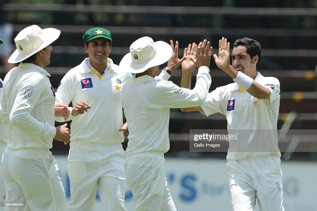 Umar Gul (R) of Pakistan celebrates the wicket of Graeme Smith of South Africa with his team mates during day 1 of the first Test match between South Africa and Pakistan at Bidvest Wanderers Stadium on February 01, 2013 in Johannesburg, South Africa.