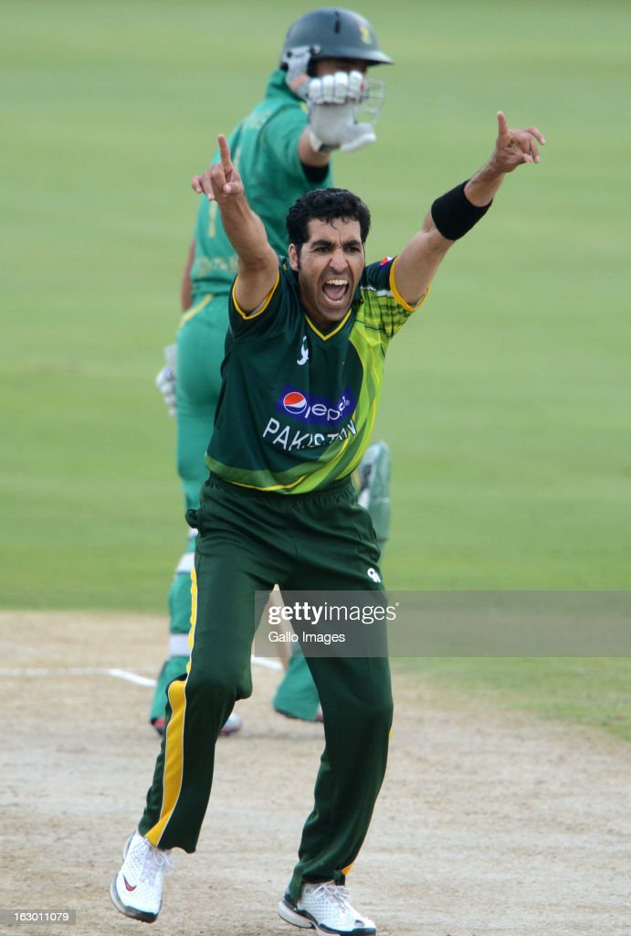 AFRICA - MARCH 03, Umar Gul of Pakistan celebrates the wicket of Justin Ontong of South Africa during the 2nd T20 match between South Africa and Pakistan at SuperSport Park on March 03, 2013 in Pretoria, South Africa.