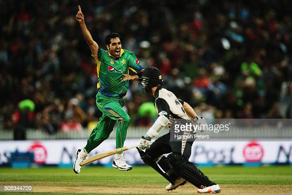 Umar Gul of Pakistan unsecessfully appeals for the wicket of Kane Williamson of the Black Caps during the International Twenty20 match between New...