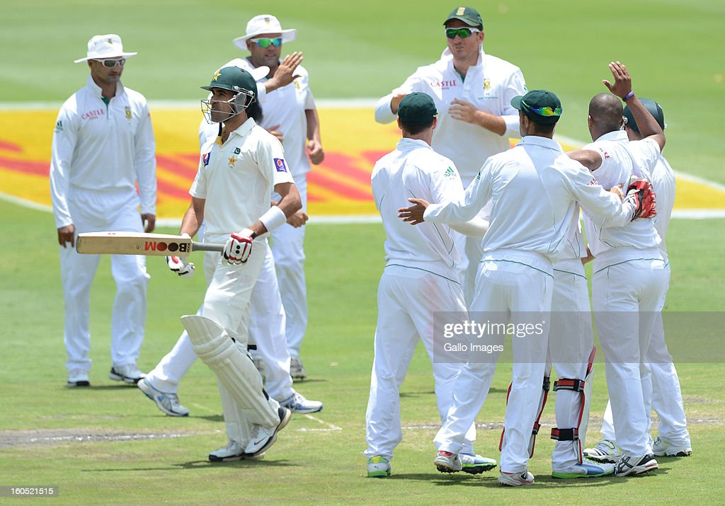 Umar Gul of Pakistan walks off for a duck during day 2 of the 1st Test match between South Africa and Pakistan at Bidvest Wanderers Stadium on February 02, 2013 in Johannesburg, South Africa.
