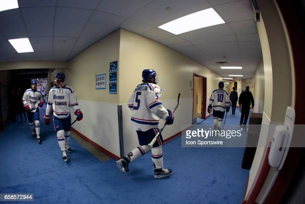 UMass Lowell leaves the ice and heads to the dressing room before the NCAA Northeast Regional final between the UMass Lowell River Hawks and the...
