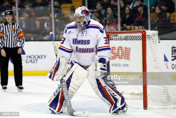 UMass Lowell River Hawks goaltender Tyler Wall gets set for a defensive zone face off during a Hockey East semifinal between the UMass Lowell River...