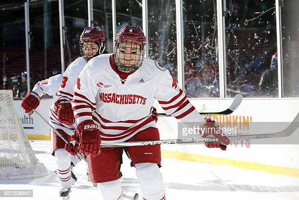 UMass Minutemen defenseman Marc Hetnik skates during warm up before a Frozen Fenway NCAA Men's Division 1 hockey game between the Boston University...