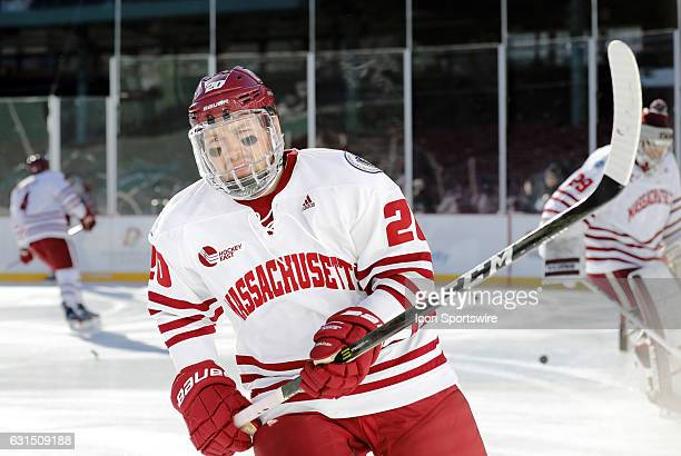 UMass Minutemen forward Brett Boeing skates during warm up before a Frozen Fenway NCAA Men's Division 1 hockey game between the Boston University...
