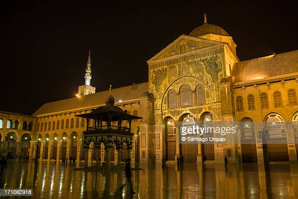 Umayyad Mosque brightly illuminated at night