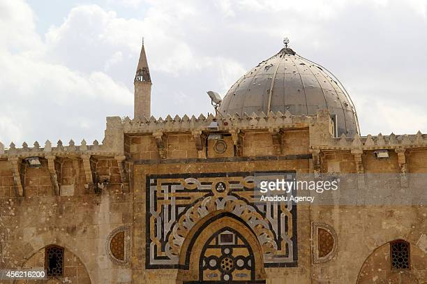 Umayyad Mosque destroyed after clashes between Asad regime forces and Syrian opponents is seen in Aleppo Syria on September 27 2014