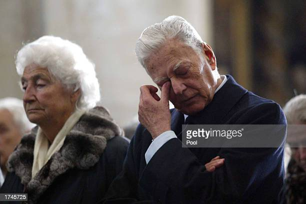 Umberto Agnelli and Sussana Agnelli respectivly brother and sister of Fiat honorary chairman Giovanni Agnelli attend his funeral inside the Cathedral...