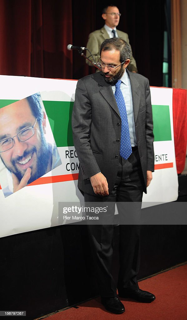 Umberto Ambrosoli attends press conference on November 21, 2012 in Milan, Italy. Umberto Ambrosoli is candidate with PD (Democratic Party) for the next Lombardy Regional election