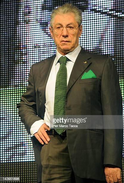 Umberto Bossi attends the Padania Pride political convention at Expo palace on April 10 2012 in Bergamo Italy A number of Northern League politicians...