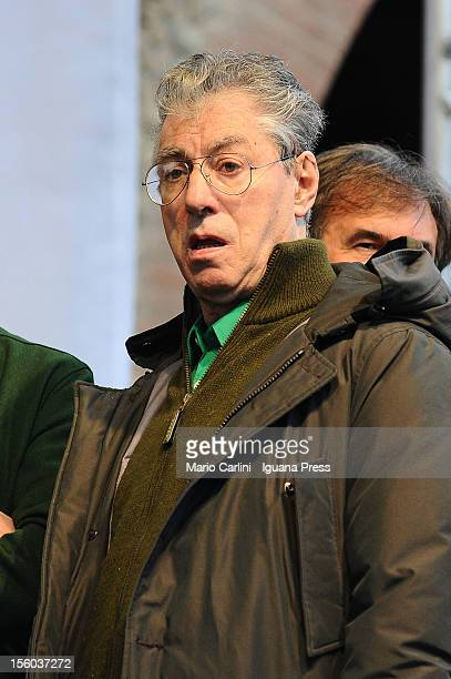Umberto Bossi leader of Lega Nord political party attends the demonstration of protest against the Italian Government on November 11 2012 in Bologna...