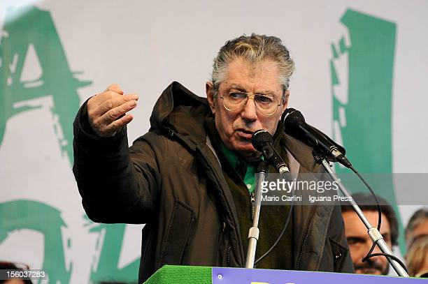 Umberto Bossi leader of Lega Nord political party holds his speech during the demonstration of protest against the Italian Government on November 11...