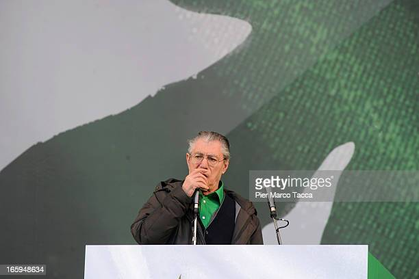 Umberto Bossi President of Northern League makes his speech at annual Northern League Meeting on April 7 2013 in Bergamo ItalyThe annual meeting is a...
