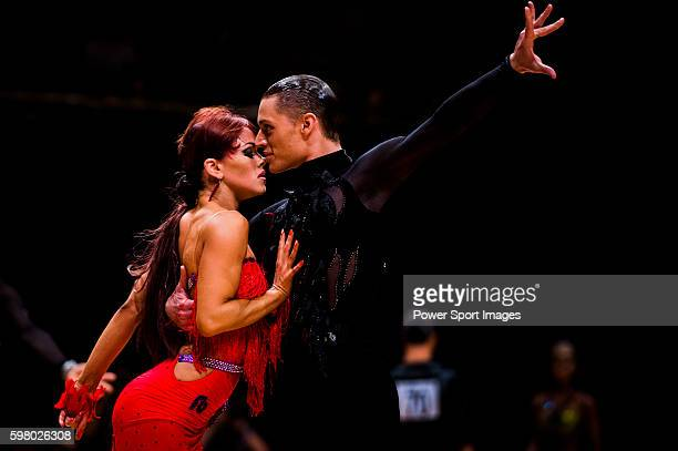 Umberto Gaudino and Louise Heise of Denmark during the WDSF GrandSlam Latin on the Day 1 of the WDSF GrandSlam Hong Kong 2014 on May 31 2014 at the...