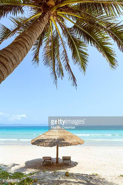 Umbrella and sunchairs on tropical beach with palm
