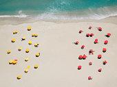 Umbrella patterns on beach