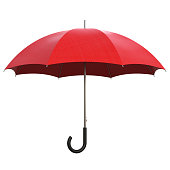 Red umbrella isolated on white background 3D rendering