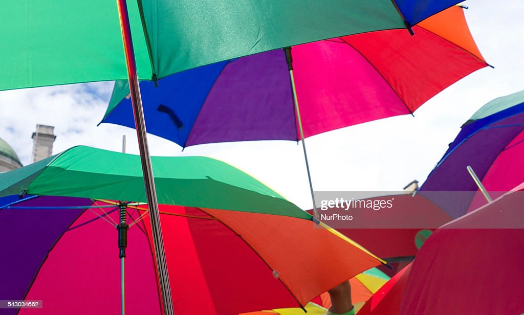 Umbrellas during the London Pride parade which marched along central London on 25 June 2016. The annual celebration is now in its 43rd year. The parade stopped for a one minute silent tribute to the victims of the Orlando nightclub shooting in the USA. The parade lasted 3 hours and there was very heavy police presence throughout the area.