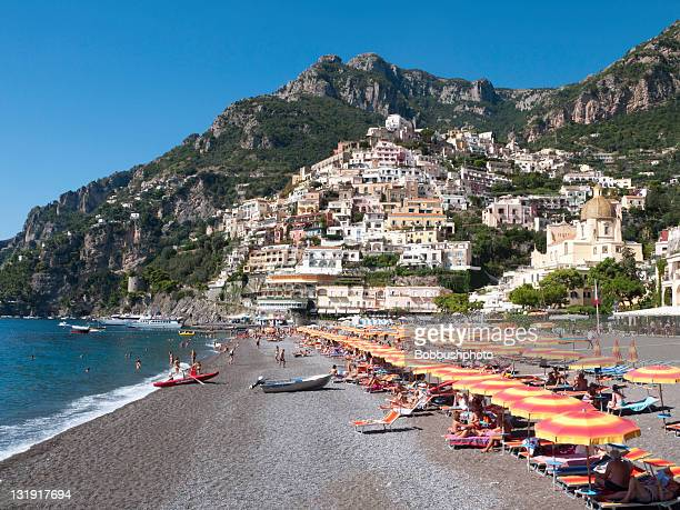 Umbrellas on the Beach in Positano, Italy