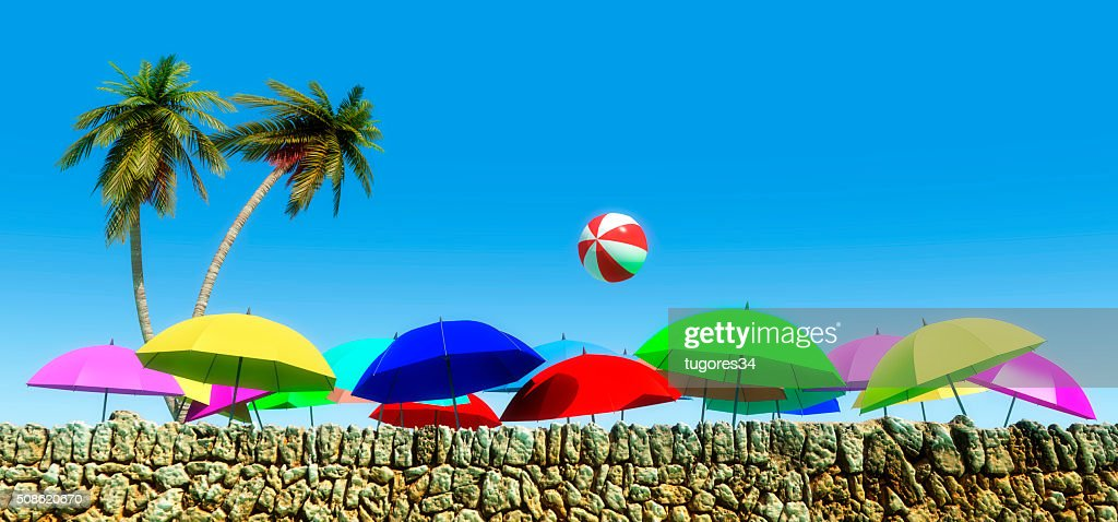 umbrellas on the beach : Stock Photo