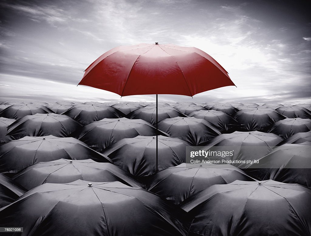 Umbrellas, standing out of crowd : Stock Photo