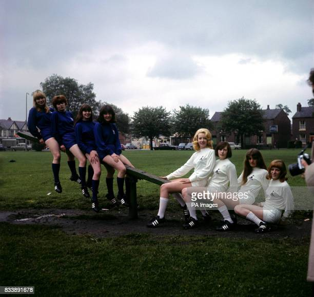 Umbro Sports factory girls model the Wembley strips to be worn in the Cup Final by Tottenham Hotspur and Chelsea