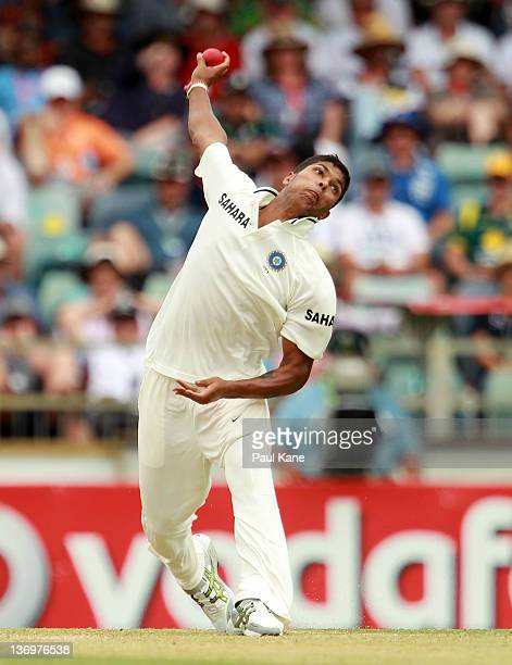 Umesh Yadav of India bowls during day two of the Third Test match between Australia and India at the WACA on January 14 2012 in Perth Australia