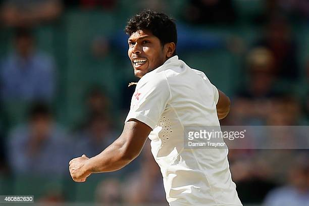 Umesh Yadav of India celebrates taking the wicket of Brad Haddin of Australia during day four of the Third Test match between Australia and India at...