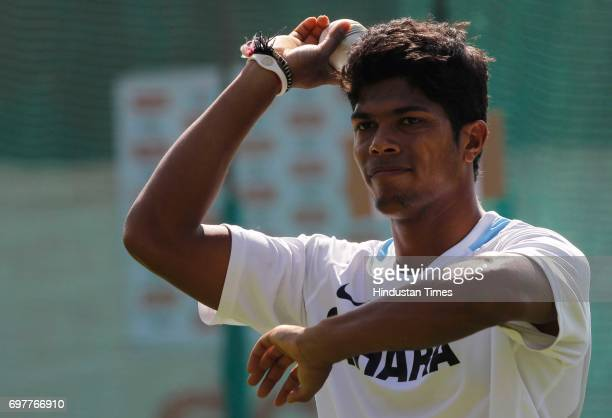 Umesh Yadav of India practices at 3rd One day match of Airtel ODI series held at Sardar Patel Gujarat Stadium on Sunday in Ahmedabad
