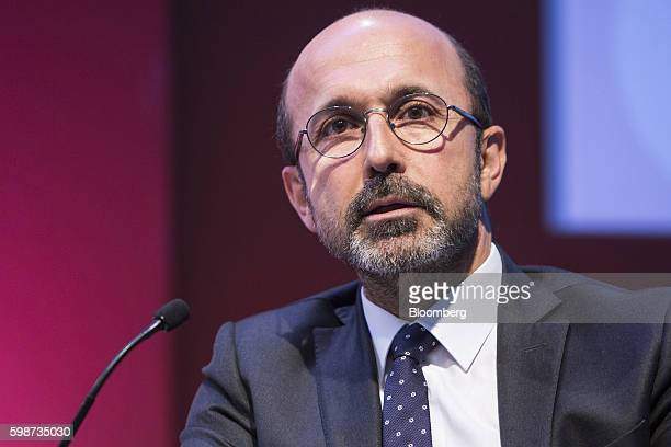 Umit Leblebici chief executive officer of Turk Ekonomi Bankasi AS speaks on a panel during the BloombergHT investor conference in Istanbul Turkey on...