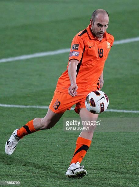 Umm Salal's Spanish midfielder Gabri Garcia advances with the ball during their Qatar Stars League football match against AlAhli in Doha on April 15...