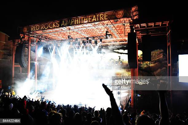 Umphrey's McGee performs at Red Rocks Amphitheatre on July 2 2016 in Morrison Colorado