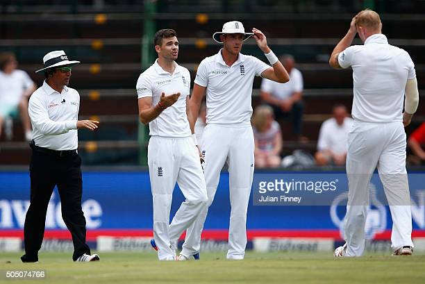 Umpire Aleem Dar gives James Anderson of England his second warning and has to stop his over after 5 balls during day two of the 3rd Test at...