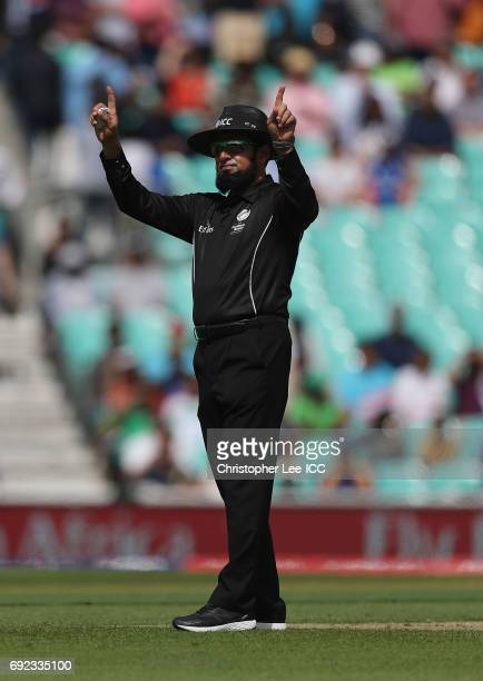 Umpire Aleem Dar in action during the ICC Champions Trophy Group B match between Sri Lanka and South Africa at The Kia Oval on June 3 2017 in London...