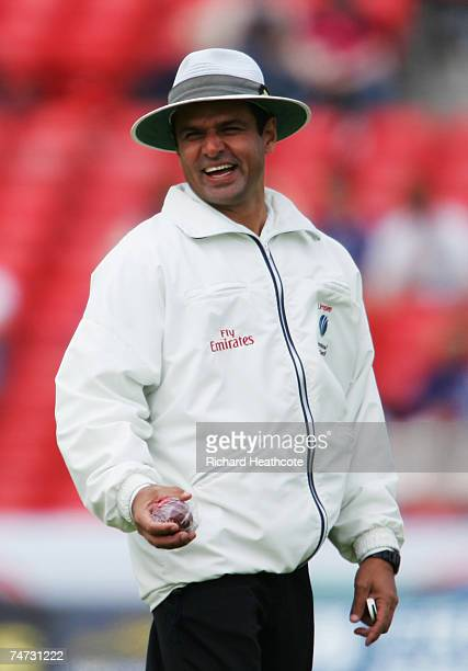 Umpire Aleem Dar laughs during day four of the Fourth Test match between England and the West Indies at the Riverside Ground on June 18 2007 in...