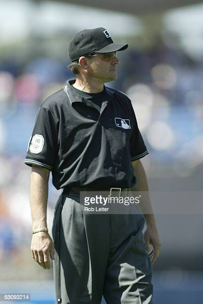 Umpire Bill Hohn is pictured during the game against the Los Angeles Dodgers and the Atlanta Braves at Dodger Stadium on May 15 2005 in Los Angeles...