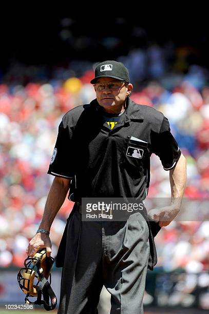 MLB umpire Bill Hohn is seen during the game between the Chicago Cubs and the Philadelphia Phillies at Citizens Bank Park in Philadelphia...